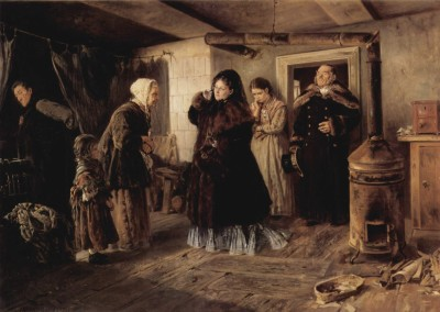 Visit to the Poor, The Philanthropists or The Visit - Oil on canvas, Wladimir Jegorowitsch Makowskij , 1874 - State Tretyakov Gallery